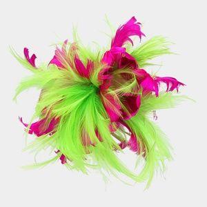 Peridot Pink Feather Fascinator Dressy Church Hat